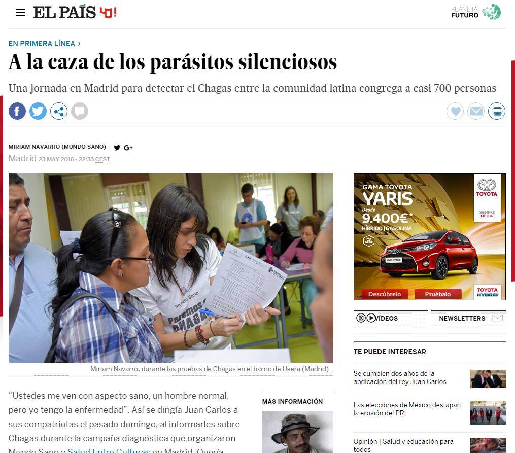 reportaje mal de chagas en el pais por Miriam Navarro, que aparece en la imagen